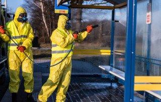 dezynfekcja przystanku autobusowego