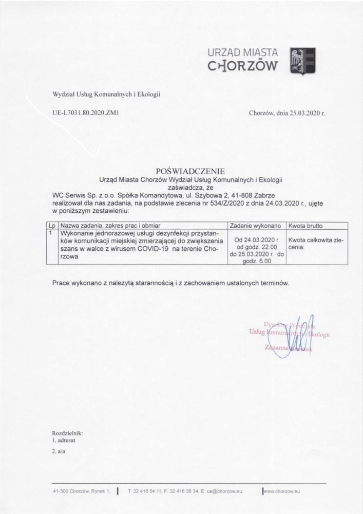 Referencje dezynfekcja miast - Chorzów